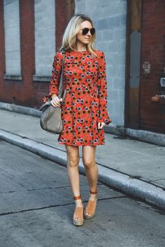 Spring Style // Floral dress + wedges