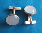 Fabulous Vintage Swank Cufflinks, Sterling Silver & Moonstone Cabochon, Cuff Links, Wedding, Father's Day Gifts