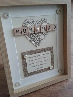 SCRABBLE FRAME Picture Personalised rustic Thank you Wedding Bridesmaid Mum GIFT