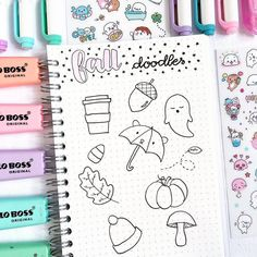 How to draw Cute fall doodles How to draw Cute fall doodles nastisworldd nastiley Journal School Cute fall doodle ideas by ig Fall Drawings, Doodle Drawings, Cute Drawings, Doodle Art, Note Doodles, Bujo Doodles, Simple Doodles, Bullet Journal Mood, Bullet Journal Inspiration