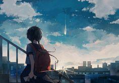 Anime, manga, and video game fan-art artworks from Pixiv (ピクシブ) — a Japanese online community for artists. 2560x1440 Wallpaper, Sky Anime, World Wallpaper, Sad Art, Anime Kunst, Anime Scenery, I Love Anime, Anime Artwork, Leprechaun