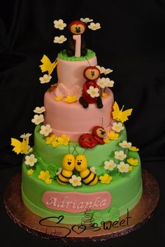 for little girl :-) Bug Cake, Lady Bug, Birthday Cakes, Cake Toppers, Bugs, Desserts, Food, Meal, Anniversary Cakes