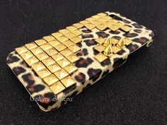 iPhone 5 gold pyramid studded and spiked wild animal by ShopTrokm, $24.99