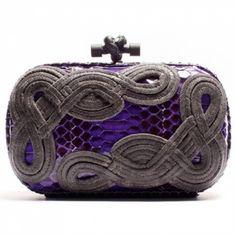 Violet Snakeskin Passamaneria Knot clutch available at Bottega Veneta Bal Harbour