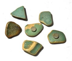 Beach pottery shard magnets supper strong magnets sea glass pottery pieces by SeaShards1 on Etsy