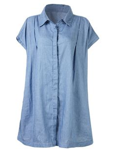 Women Short Sleeve Pure Color Thin Denim Shirt