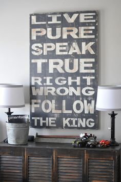 i love everything in this shop, but especially this one.  Live Pure Sign. $125.00, via Etsy.