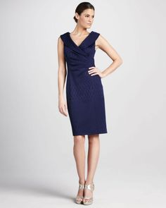 A chic navy blue frock for the Mother Of The Bride or Bridesmaids from Kay Unger. Love the texture on the fabric.
