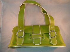Franco Sarto Satchel Lime Green Pebbled Leather Purse Bag Double Strap Buckles #FrancoSarto #Satchel