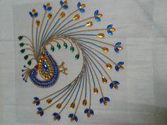 my new peacock kundan rangoli for sale. Kurti Embroidery Design, Embroidery Neck Designs, Beaded Embroidery, Embroidery Patterns, Rangoli Patterns, Rangoli Designs Diwali, Diy Crafts Slime, Acrylic Rangoli, Diwali Craft