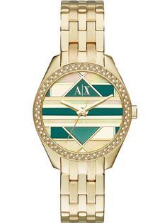 ca1266c8 Armani Exchange Ladies Gold Plated Stone Bezel Patterned Dial Bracelet  Watch AX5527