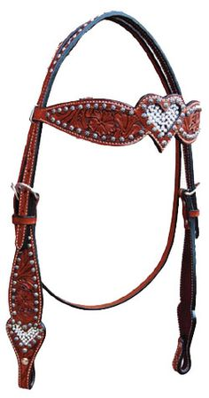 Shaped Crystal Heart Headstall | ChickSaddlery.com