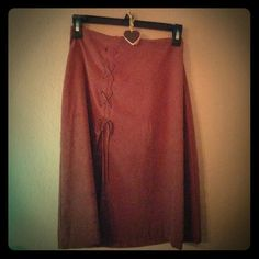 """Skirt Brown faux suede skirt, sexy slit, 23"""" length, size 9/10 Skirts Midi"""
