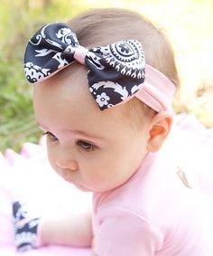 Love this Black & Pink Damask Bow Headband by Baby Bella Maya on #zulily! #zulilyfinds