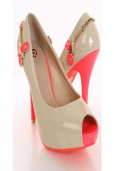 Beige Neon Coral Patent Pump Heels...if I wore heels, these would be in my closet!