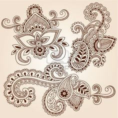 Hand-Drawn Henna Paisley Flowers Mehndi Doodles Abstract Floral Vector Illustration Design Elements Stock Photo
