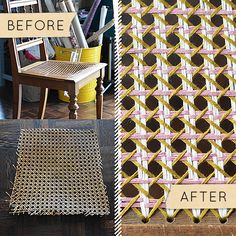 Before & After: A Broken Cane Seat Gets A Colorful, Yarny Fix Design Sponge Blog