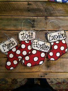 Burlap Ornaments, Painted Christmas Ornaments, Burlap Crafts, Burlap Christmas, Christmas Signs, Christmas Art, Christmas Stockings, Christmas Decorations, Stocking Ornaments