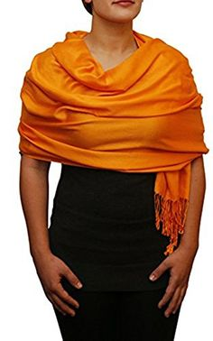 Opulent Luxury Fashion (Community) Cashmere Scarf Shawl Wrap Soft Bright Orange 80 x 30 ** See this great product.