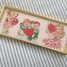I bought this from a lady at the flea market. She told me they were some of her valentines from when she was a little girl and that her mom framed them for her. Who gets rid of things like this?!?! #vintage #valentinesday #vintagevalentine #fleamarket