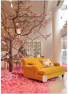 spring window display idea - tissue blossoms