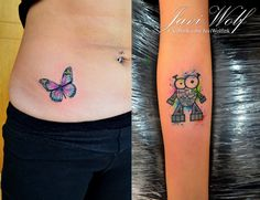 Mini Watercolor Tattoos. Tattooed by @javiwolfink www.facebook.com/javiwolfink