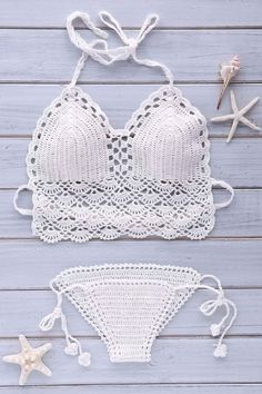 Crochet Halter Solid Color Bikini Set - WHITE ONE SIZE(FIT SIZE XS TO M)