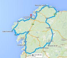 Mapa de lugares turisticos de Galicia Come Fly With Me, Spain, To Go, Places, Travel, Barcelona, Ideas, Geography, Paths