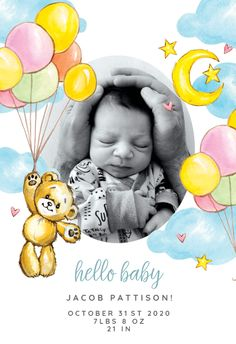 Baby Teddy Bear, Teddy Bear Baby Shower, Baby Shower Invitation Cards, Baby Shower Cards, Welcome New Baby, New Baby Cards, Printable Cards, New Baby Products, Congratulations