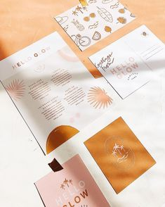 Sunless tanning salon branding design through tropical inspired patterns, beachy illustrations, and a fun, playful color palette. The post Sunless tanning salon branding design through tropical inspired patterns, beachy& appeared first on Design. Collateral Design, Stationary Design, Brand Identity Design, Graphic Design Branding, Brochure Design, Tag Design, Print Design, Cover Design, Invitation Design
