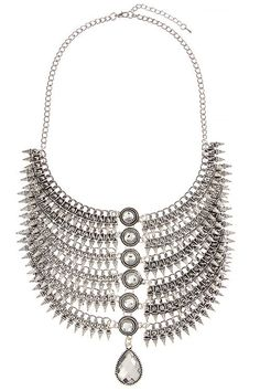 Spiky Crystal Accent Bib Necklace with Earrings Only $15