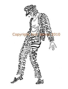 Michael Jackson Art Portrait Calligram or Calligraphy Drawing, Michael Jackson Typography Illustration, Unique Art Print, King of Pop Art