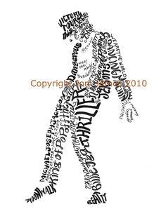Michael Jackson Typography Word Art Calligram  by Joni James