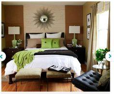 green + neutrals bedroom
