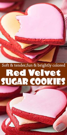 Red Velvet Sugar Cookies #RedVelvet #Sugar #Cookies #dessert Valentines Day Cookie Recipe, Valentines Baking, Valentine Desserts, Cookie Desserts, Easy Desserts, Cookie Recipes, Dessert Recipes, Valentine Cookies, Valentine Ideas