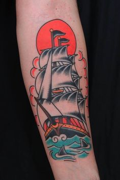 tattoo old school / traditional nautic ink - ship by Santu Altamirano