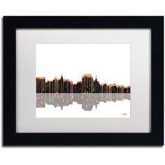 Trademark Fine Art Augusta Maine Skyline II Canvas Art by Marlene Watson White Mat, Black Frame, Size: 16 x 20