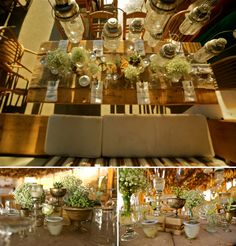 Details on the table arrangement and decoration! Baby breaths, vintage style lanterns and burlap fabric...Boho elegance!
