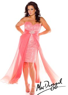 Mac Duggal 64738F - Neon Coral Hi-Low Plus Size Prom Dresses Online #thepromdresses
