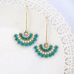 Turquoise earrings dangle Fan earring Long turquoise