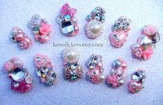 Kawaii Diamonds and Pearls Bling nails with roses by KawaiiClaws, $22.99