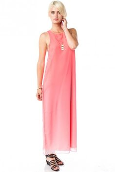 8d3b8a1ab6 Ombre Horizon Maxi Dress in Coral Salmon Color Dress