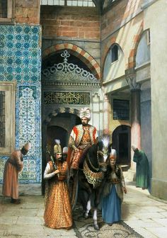 Ottoman Sultan with his guards- by Ressam Kamil Aslanger Empire Ottoman, Arabian Art, Islamic Paintings, Exotic Art, Turkish Art, Historical Art, Arabian Nights, Renoir, Islamic Art