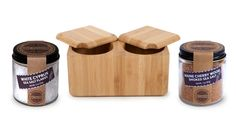 Core Bamboo Double Square Bamboo Salt Box with Gourmet Salts from Ming Tsai on OpenSky