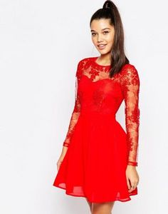 Missguided | Missguided Lace Sleeve Prom Dress