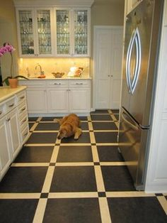 A Modern Touch To Traditional Kitchen Marmoleum Dual Tile T3236 Dark Bistre And Light