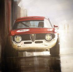 red and white Alfa Romeo Gta, Speed Art, Car Illustration, Illustrations, Sports Car Racing, Car Drawings, Car Sketch, Creative Posters, Automotive Art