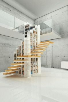 Shelf integrated stair case.