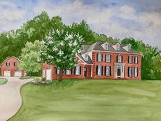 Custom hand painted house portrait. Watercolor house portrait. Watercolor Artwork, Watercolor Portraits, First Home Gifts, House Illustration, Realtor Gifts, House Drawing, Cool Lighting, Custom Paint, That Way
