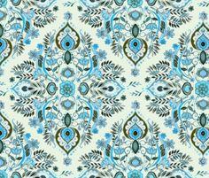 Modern Folk in Aqua and Umber fabric by micklyn on Spoonflower - custom fabric